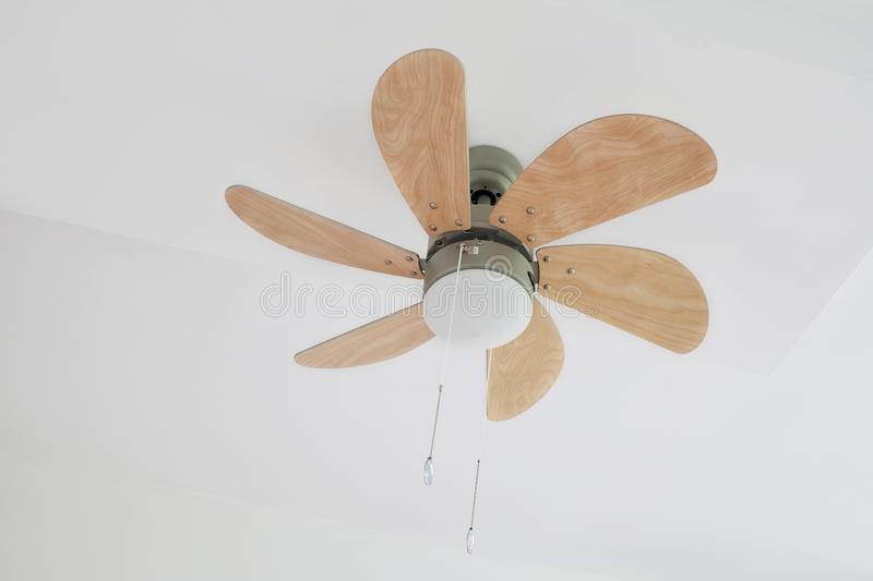 Electric ceiling fan with lamp royalty free stock photography