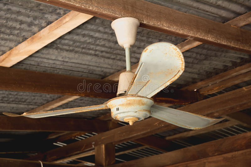 Download Electric Ceiling Fan, Old Rusty Ceiling Fan On Rusty Stock Photo    Image Of