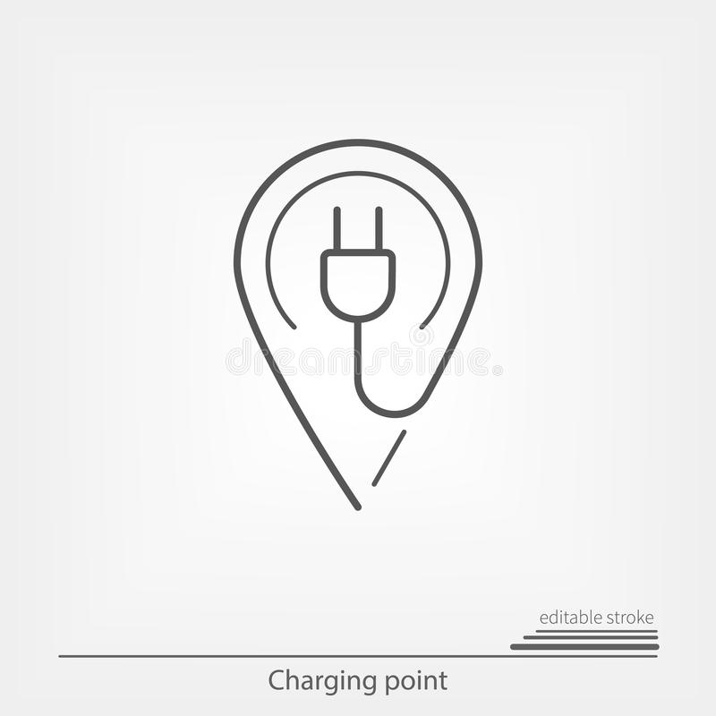 Electric charge point. Map pointer with editable stroke stock illustration