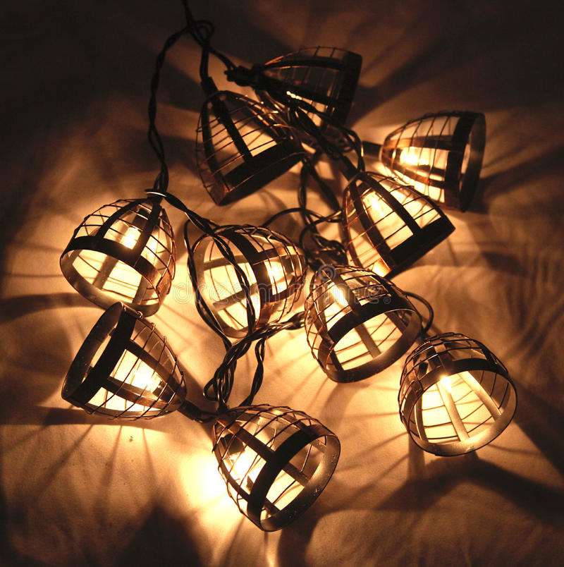 Electric Christmas lights stock images
