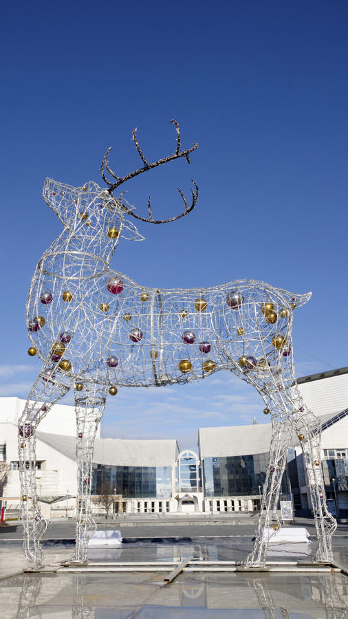 The electric Christmas reindeer royalty free stock photo