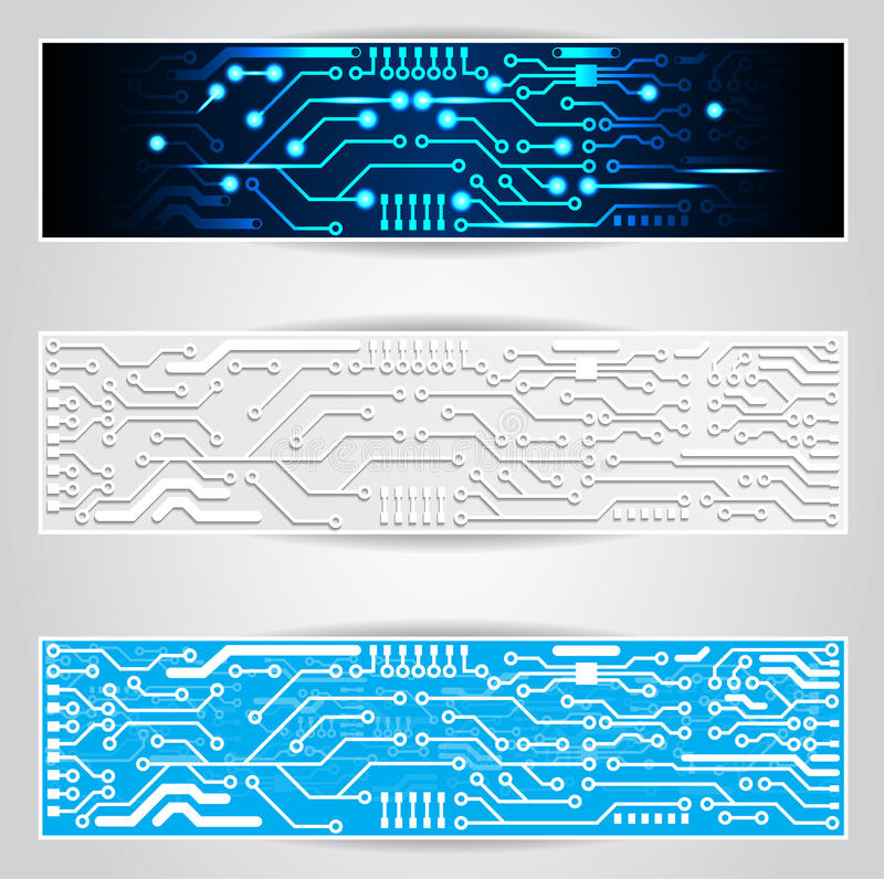 Electric circuit board banner royalty free illustration