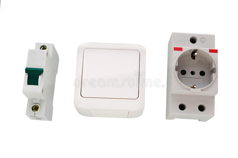 Electric Circuit Breaker And Socket, Power Outlet Stock Image ...
