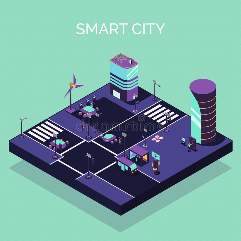 Electric City Isometric Composition royalty free illustration