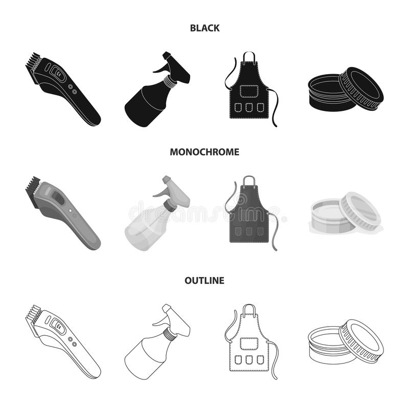 Electric clipper, apron, cream and other accessories for a male hairdresser.Barbershop set collection icons in black stock illustration