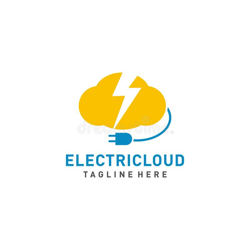 Electric Cloud logo design vector with cable illustration stock illustration