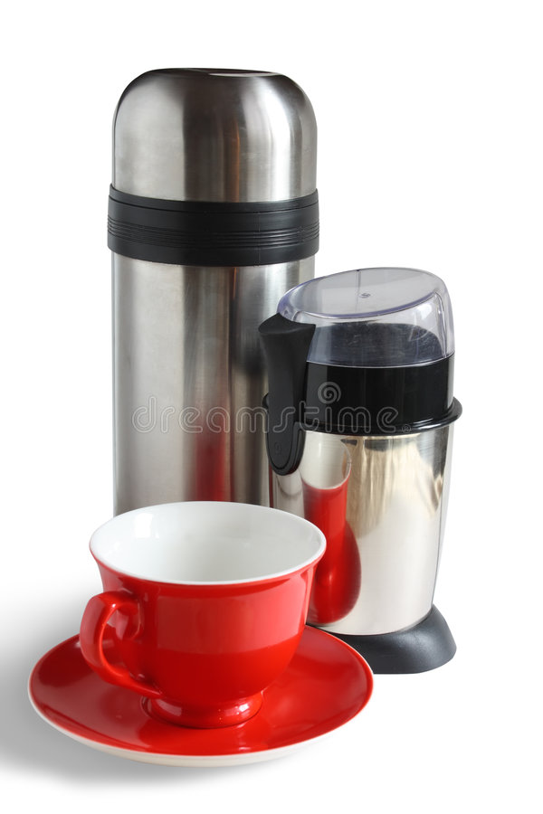 Download Electric Coffee Grinder With Thermos And Red Cap Stock Image - Image: 7215233