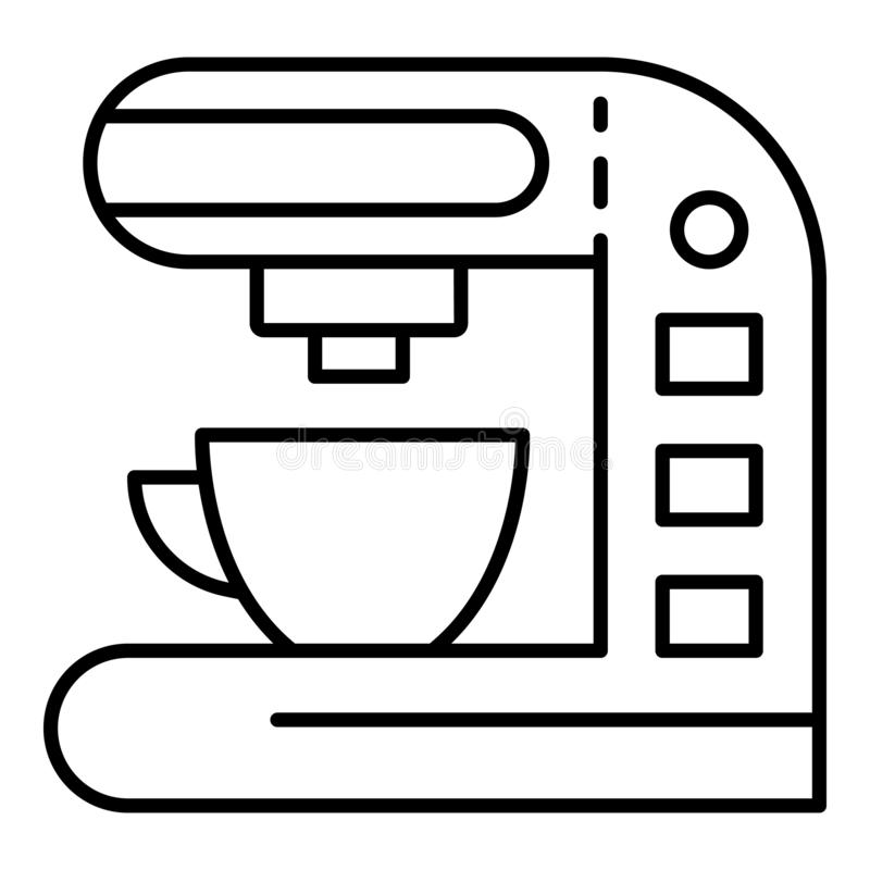 Electric coffee maker icon, outline style stock illustration