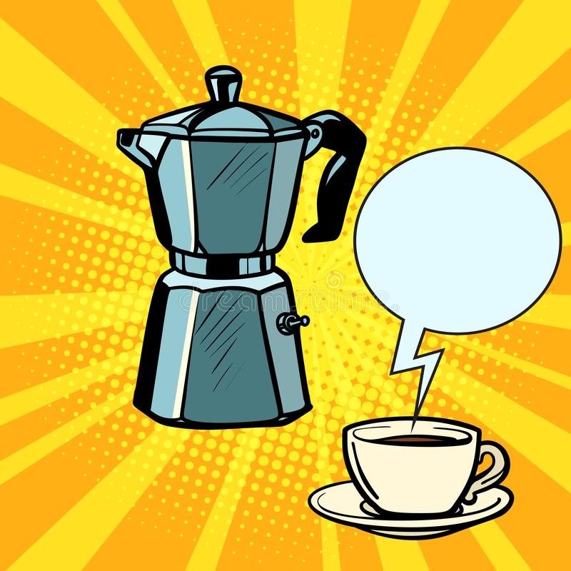 Electric coffee pot and Cup royalty free illustration