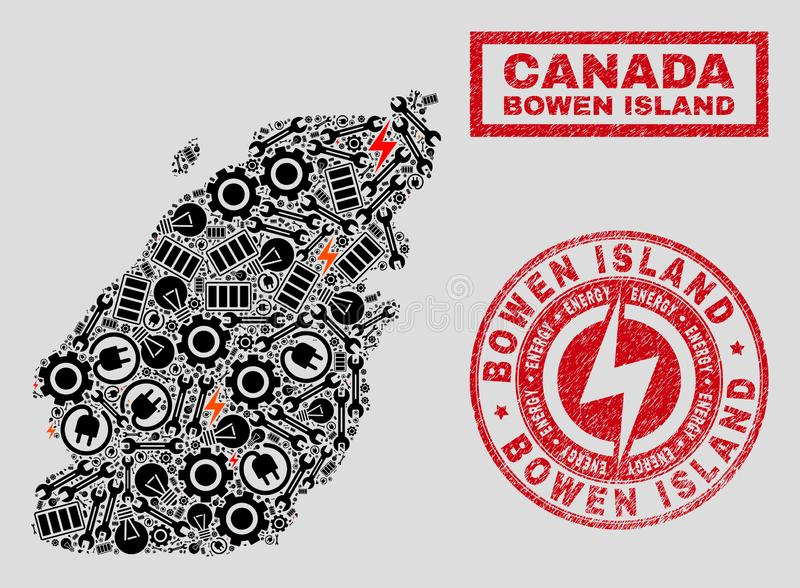 Electric Collage Bowen Island Map and Snowflakes and Textured Stamps. Composition of mosaic power supply Bowen Island map and grunge stamp seals. Collage vector vector illustration