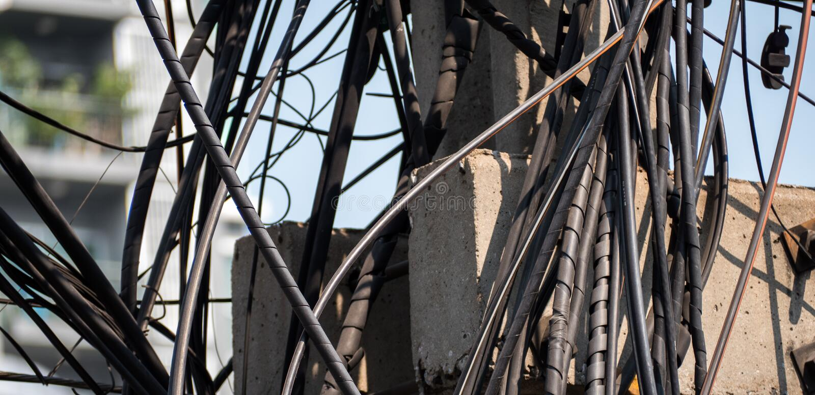 Electric the confuse wire in city Thailand. Electric the confuse wire in city stock photos