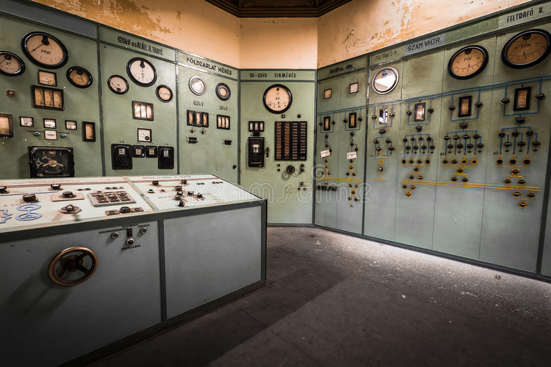 Electric controller room in an old metallurgical factory. Controller room in an old metallurgical factory stock photo