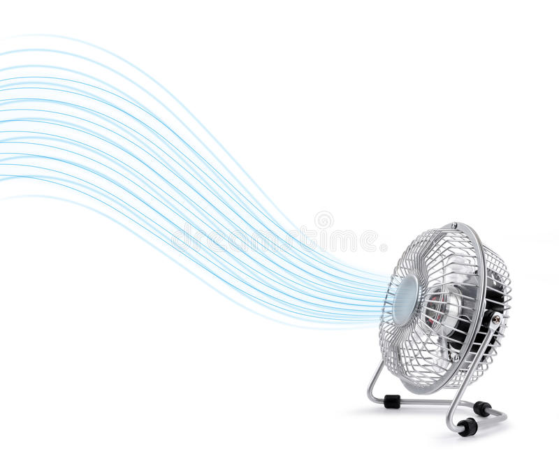 Electric cooler fan blowing fresh air stock photos