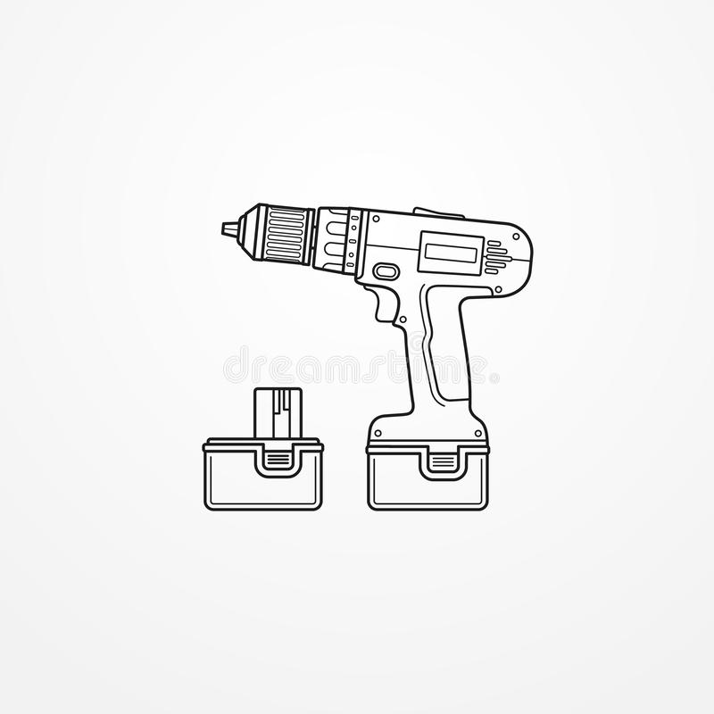 Free Electric Cordless Drill With Battery Outline  Image Royalty Free Stock Images - 165193699