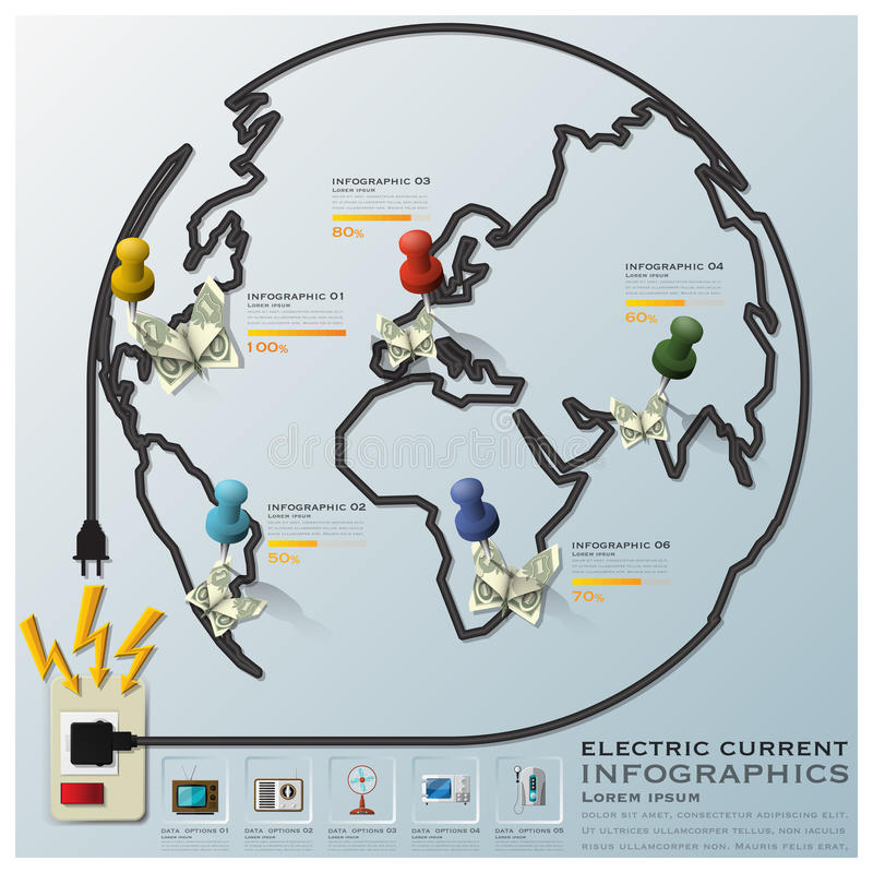 Electric Current And Equipment Earth Wire Line Business Infographic. Design Template royalty free illustration