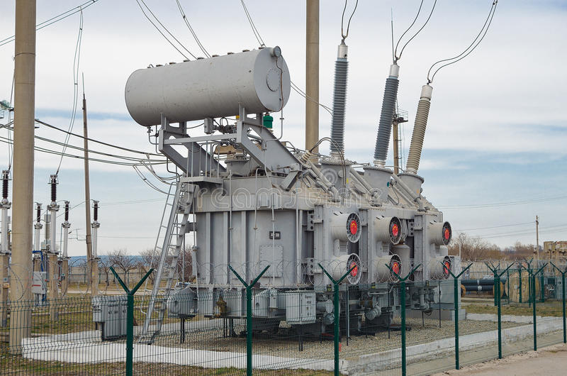 The electric current transformer on the substation royalty free stock photos