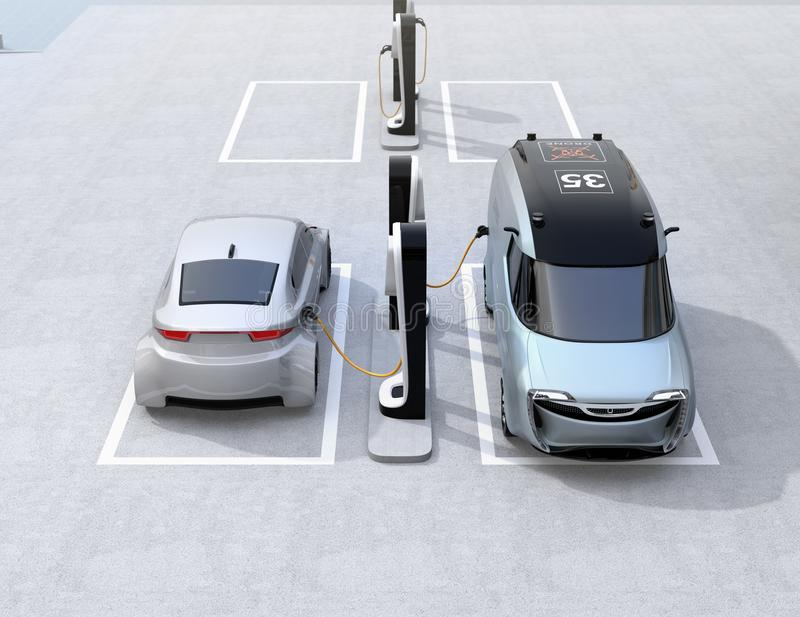 Electric delivery minivan and silver sedan charging at charging station. 3D rendering image stock illustration
