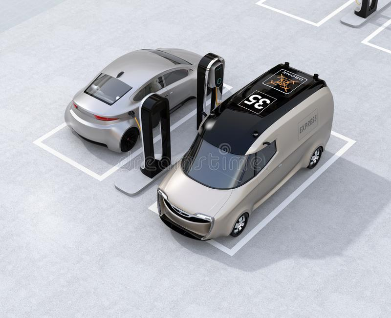 Electric delivery minivan and silver sedan charging at charging station. 3D rendering image vector illustration