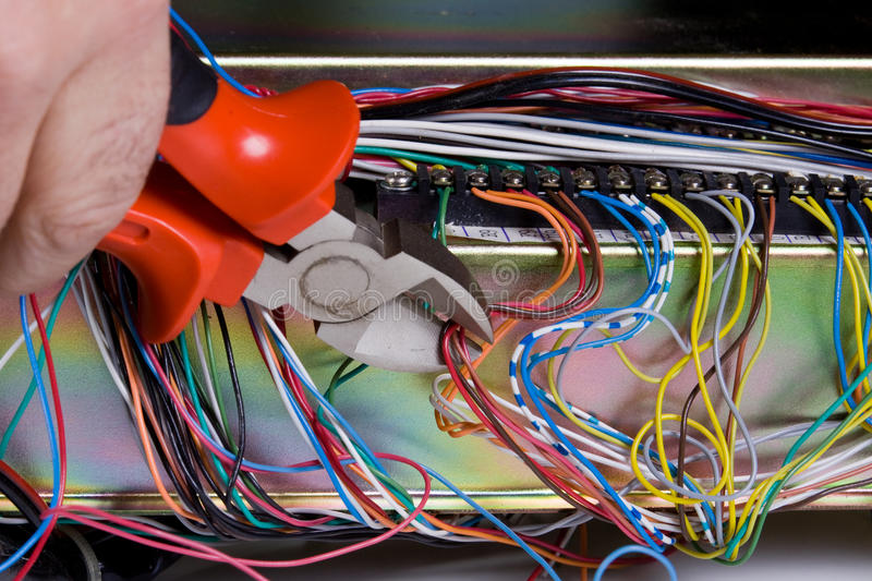 Electric device. With all the wires royalty free stock image
