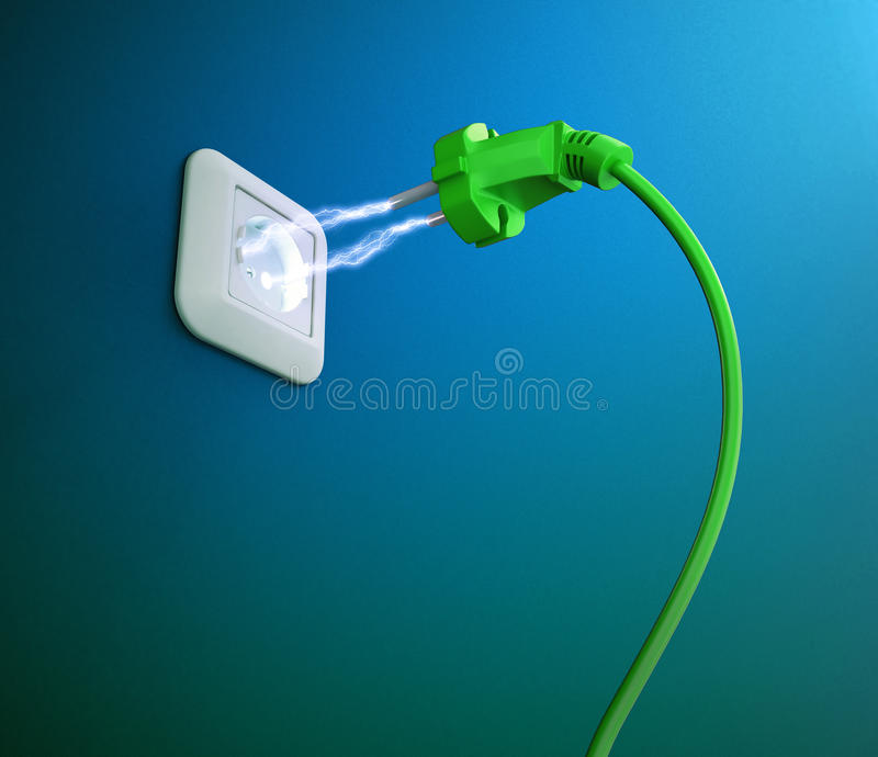Electric discharge between a plug and an outlet. An electric discharge between a plug and an outlet royalty free illustration