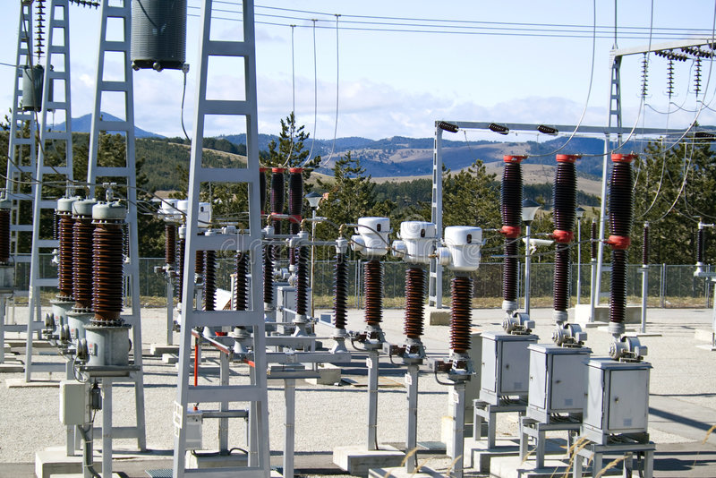 Electric distribution substation stock photography