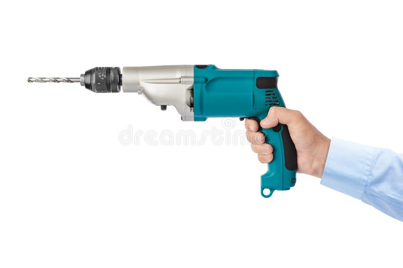 Electric drill in hand stock images