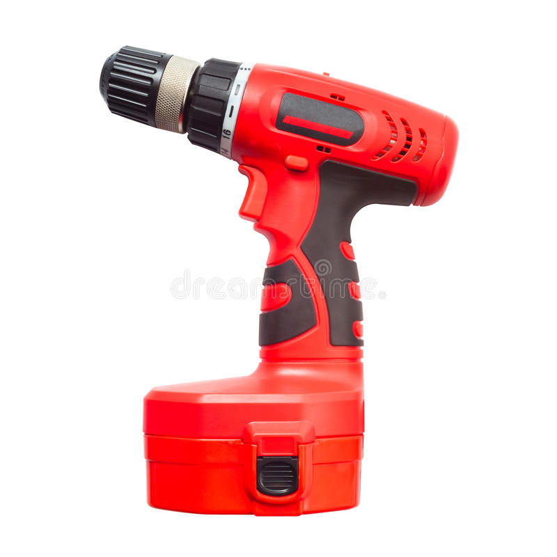 Electric drill power tool in red. Isolated electric drill power tool in red royalty free stock photo