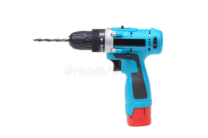 Electric drilling machine. Isolated on white background stock photography