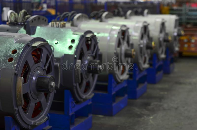 Electric engines for quarry dump trucks. Manufacture of automobiles royalty free stock images