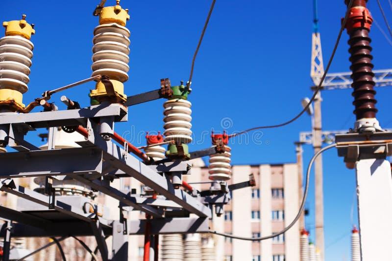 Electric equipment of power transformer substation stock photos