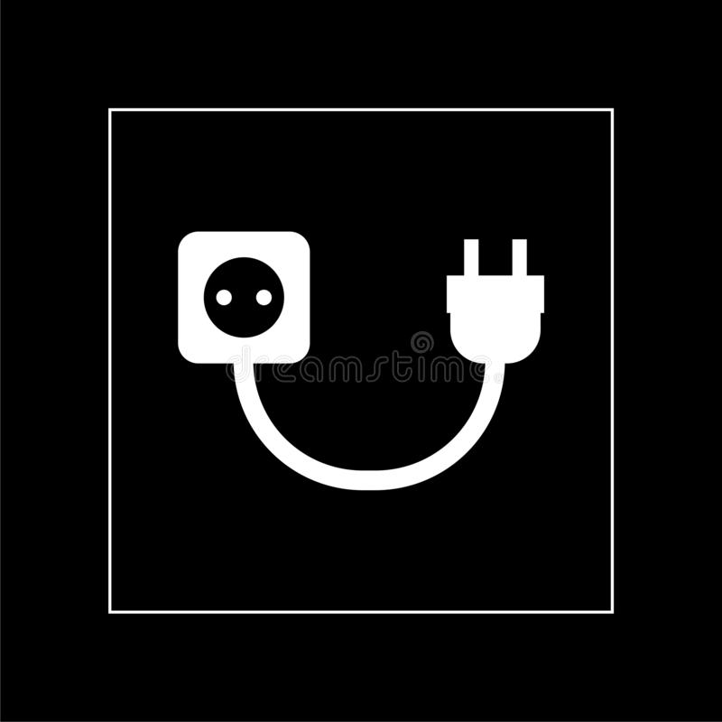 Electric extension, electric plug icon on dark background stock photos