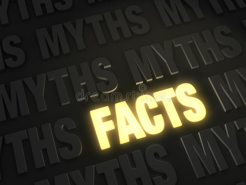 Electric Facts. Bold, glowing gold FACTS on a dark background of MYTHS royalty free illustration