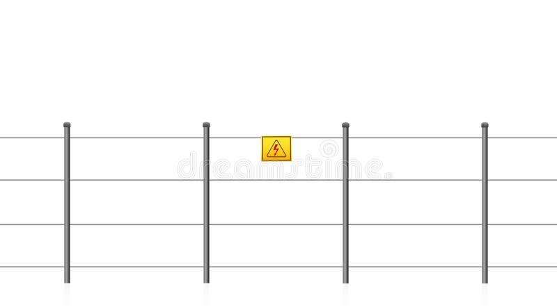 Electric Fence Caution Sign Electrical Shock. Electric fence with caution sign, warning of electrical shock. Seamless extendable isolated vector illustration on vector illustration
