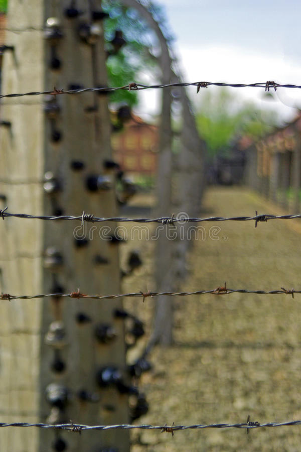 Electric fence in death camp Auschwitz. Electric fence in German death camp Auschwitz-Birkenau, Poland royalty free stock photography