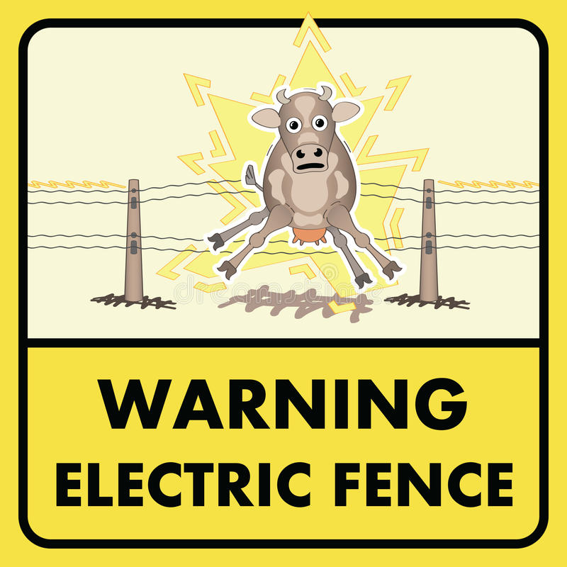 Electric Fence Sign Stock Vector. Illustration Of Caution