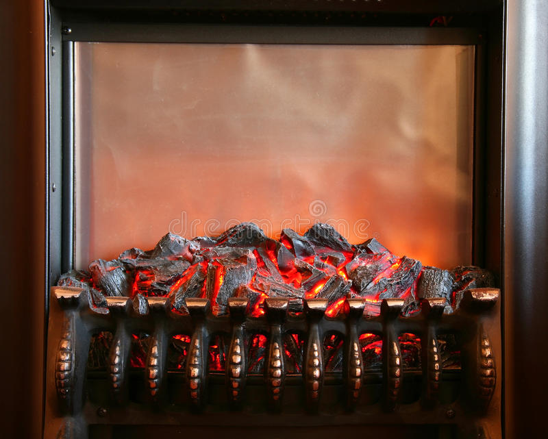 Electric fireplace royalty free stock photo