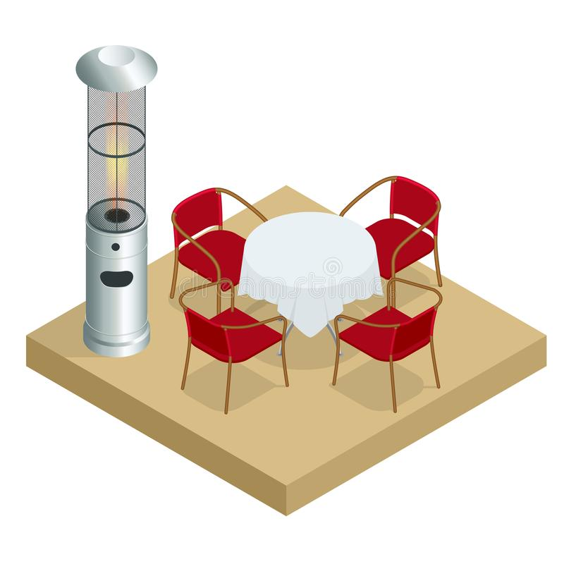 Free Electric Gas Patio Heater. Isometric Best Patio Heaters For Your Garden, Bars, And Restaurants. Royalty Free Stock Photos - 163227728