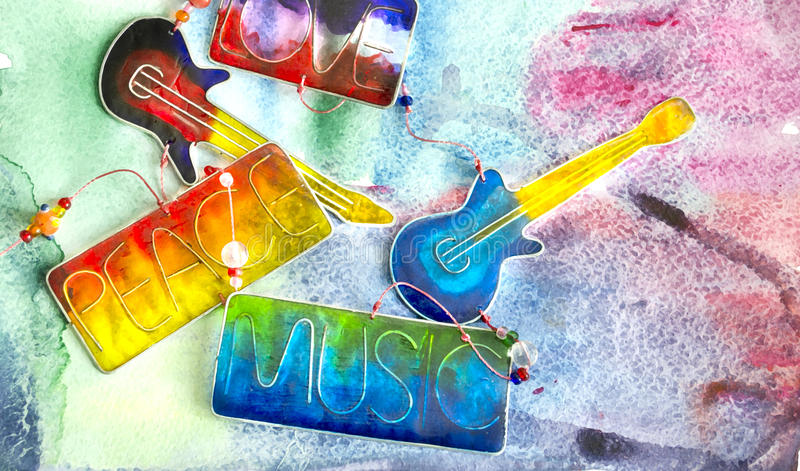 Electric glass guitar. Stained glass abstract composition on colorful background. royalty free stock photography