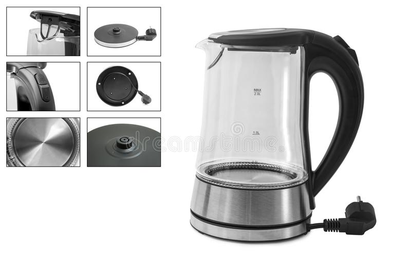 Electric Glass Kettle Isolated on White Background. Glass and Stainless Steel Tea Kettle. Domestic Appliances. Household Appliance. S royalty free stock photo