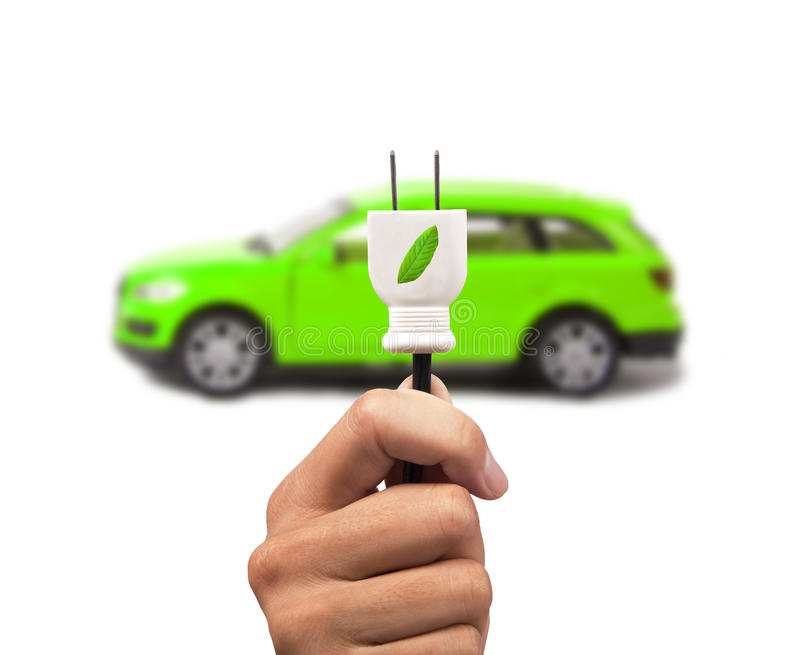 Electric and gree cars with eco energy royalty free stock image