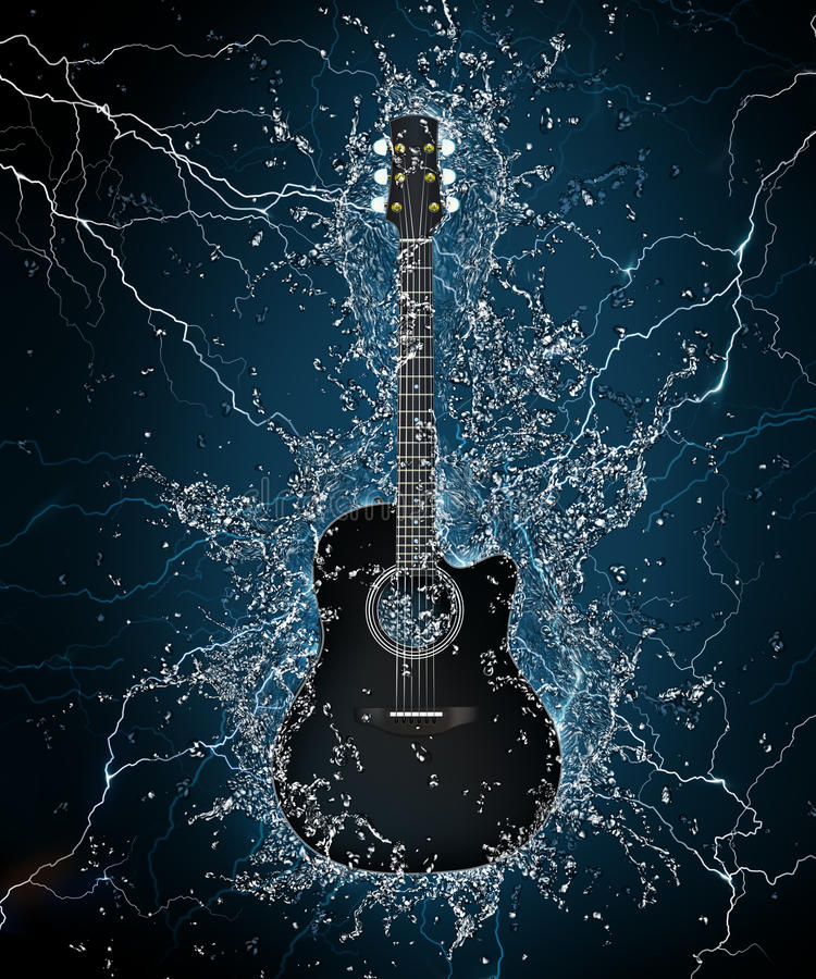 Electric Guitar. In Water on Black Background. Computer Graphics royalty free illustration
