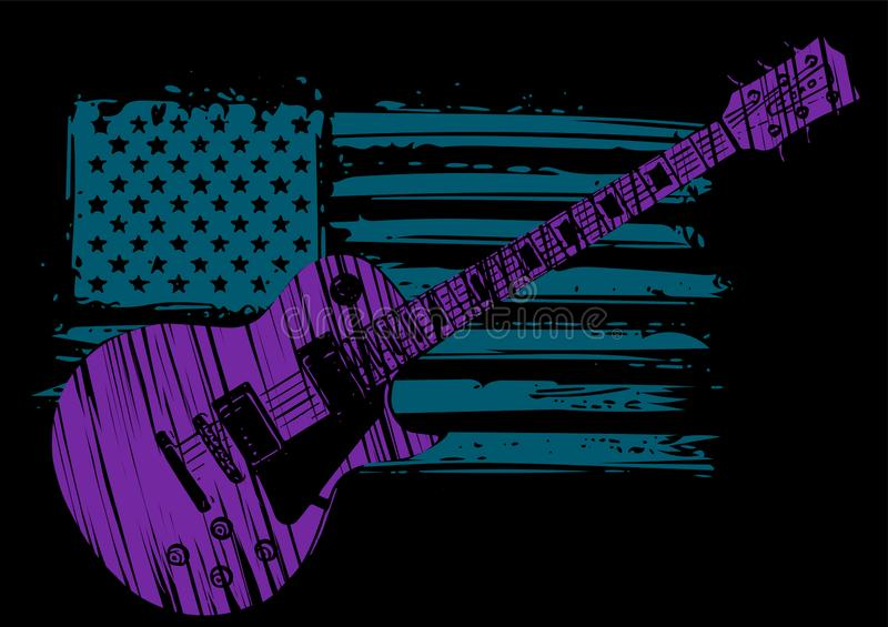 An Electric Guitar with American Flag Isolated on a black Background royalty free illustration