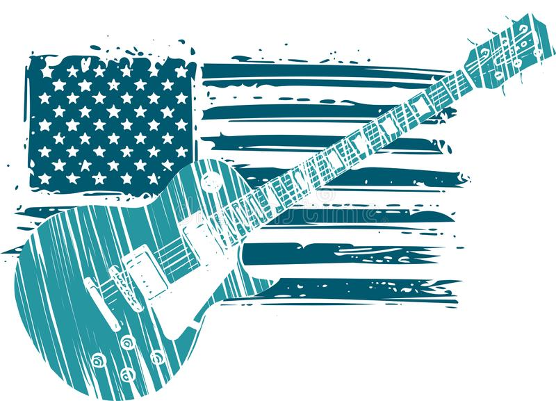 An Electric Guitar with American Flag Isolated on a White Background stock illustration