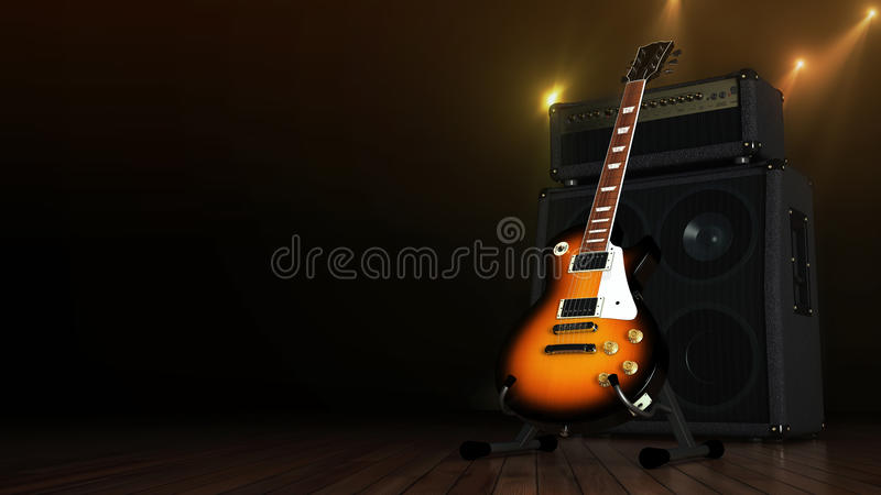 Electric guitar with amplifier royalty free illustration
