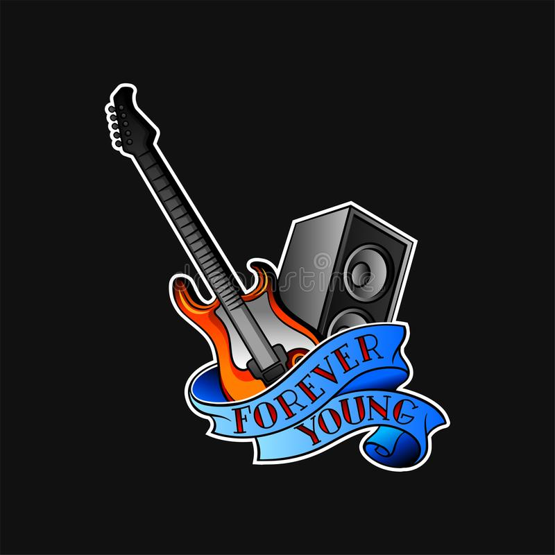 Electric guitar, audio speaker and blue ribbon with text Forever Young . Vector design for tattoo, sticker, promo flyer stock illustration