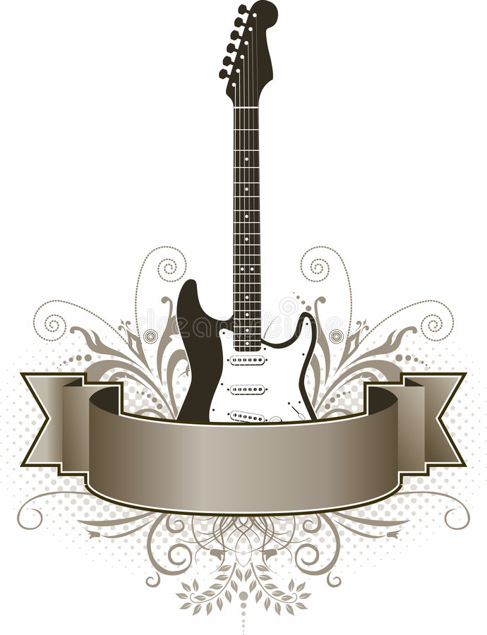 Electric guitar and banner stock illustration