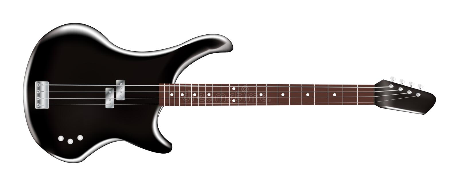 Electric guitar bass. A black electric guitar bass royalty free illustration