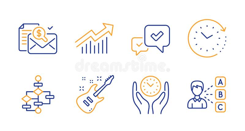 Electric guitar, Block diagram and Demand curve icons set. Safe time, Accounting report and Approve signs. Vector. Electric guitar, Block diagram and Demand stock illustration