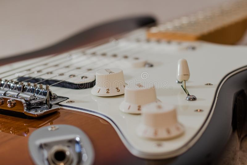 Electric guitar body. Closeup of electric guitar body stock photos