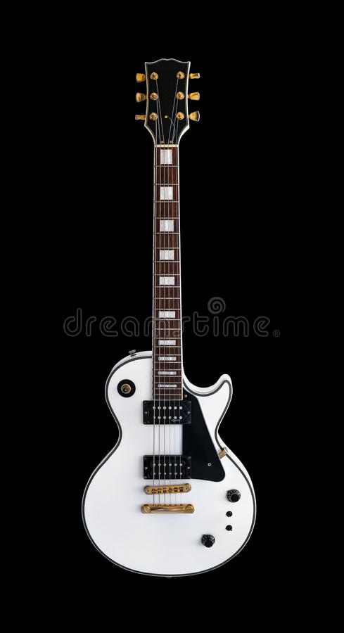 Electric guitar the classic shape Les Paul on white background. White electric guitar the classic shape Les Paul on an isolated black background. Gibson stock images